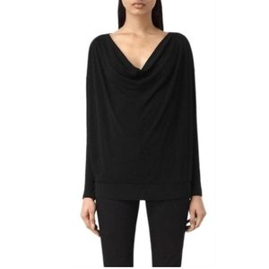 All Saints Vicki Black Jersey  Draped Neck Blouse